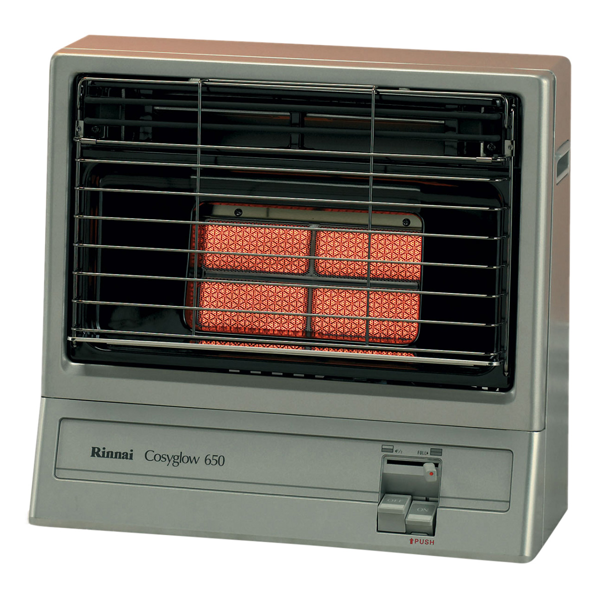 Rinnai 650SN Cosyglow Unflued Natural Gas Radiant Heater - Platinum Silver