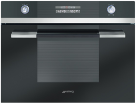 Smeg SCA45VCNE2 45cm Linea Series Combination Steam Oven Black