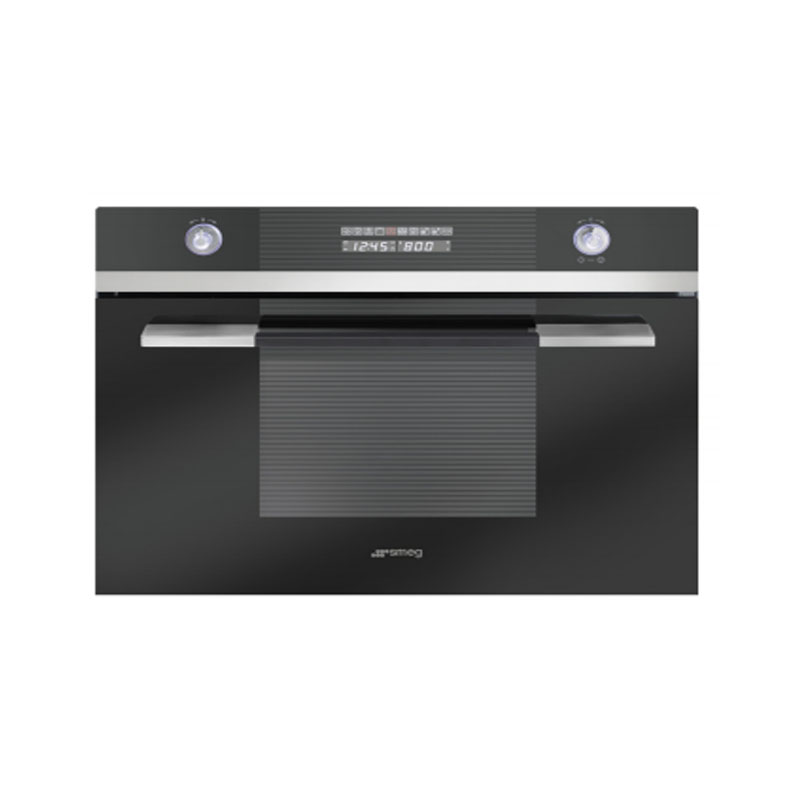 Smeg SC45MCNE2 Black Linear Built in Compact Combi Microwave