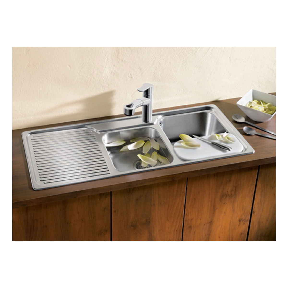 Genial Blanco MCLZL B5899 1 And 3/4 Bowl Right Hand Drainer Sink 37432