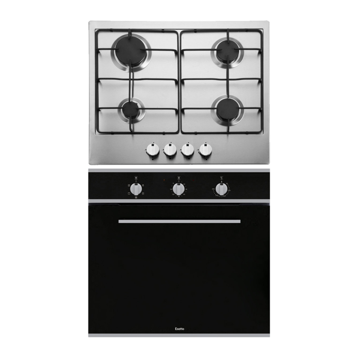 Esatto EOG6 60cm Stainless Steel Gas Cooktop & Fan Forced Oven Pack 49615