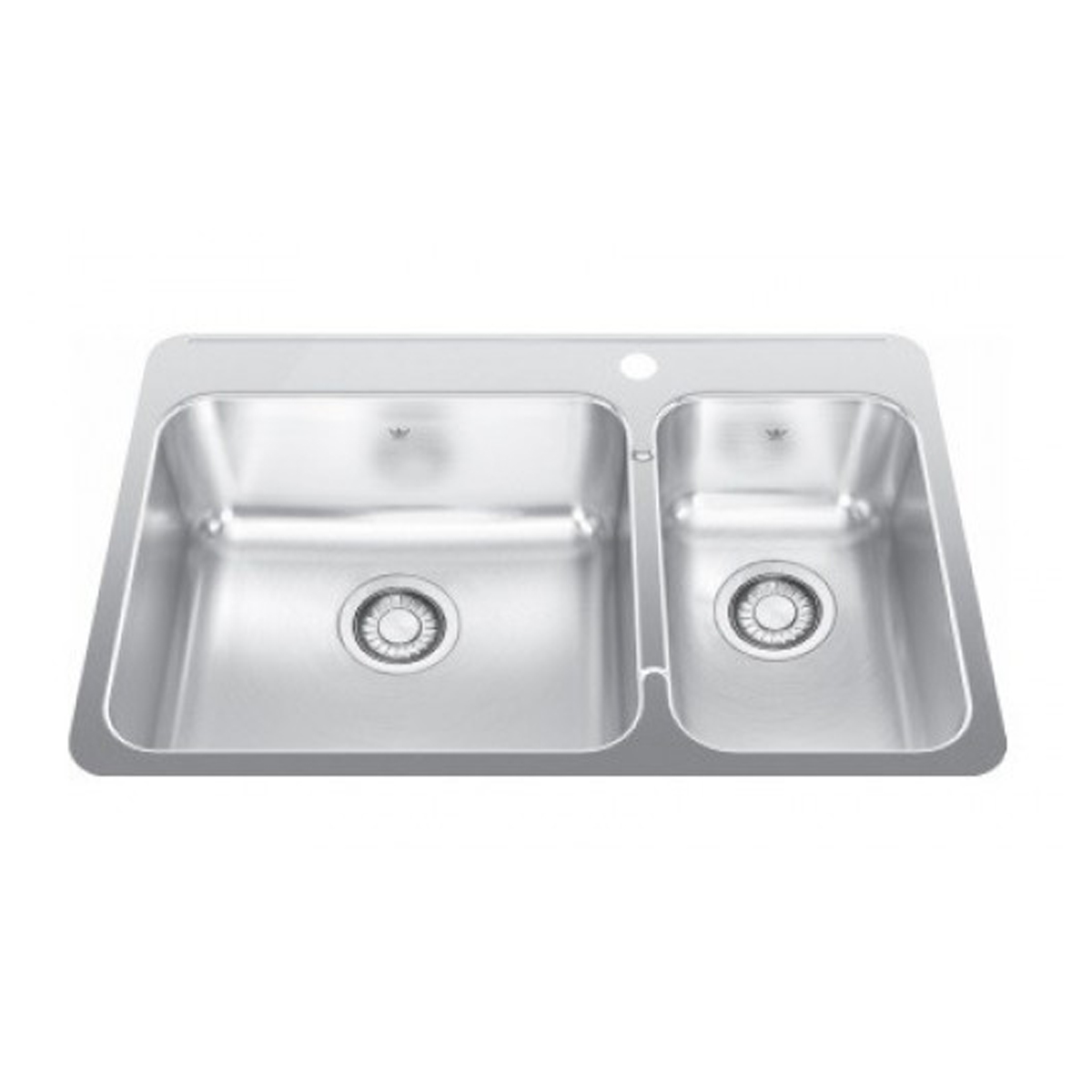 Franke SQX620B-R Steel Queen Double Bowl Inset Sink
