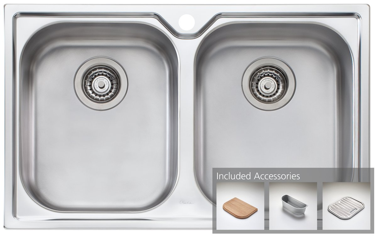 Oliveri COM163SQL Double Bowl Topmount Sink and Commercial Square Mixer Tap Pack