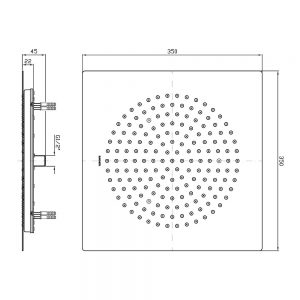 Zuccheti Z94163 350x350mm Square Head Ceiling Mounted Shower 273968