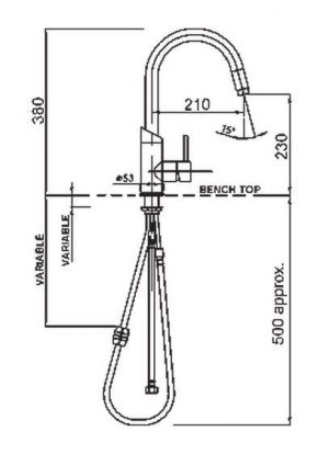 Methven 01-2329 Minimalist Sink Mixer With Pull Out Spray 325608