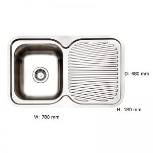 Arc IS8RS5 Single Bowl Right Hand Drainer Inset Sink 991308