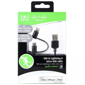 Gecko GG100094 2-in-1 MFI USB to Lighting/Micro-USB 1m Data Sync Cable for iPhone/Samsung 937788
