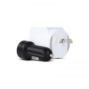 Gecko GG500023 White AC USB Adapter & Black Car Travel Charger For iPhone/iPad/Smartphone 1097267