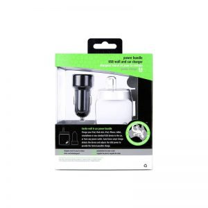 Gecko GG500023 White AC USB Adapter & Black Car Travel Charger For iPhone/iPad/Smartphone 1097269