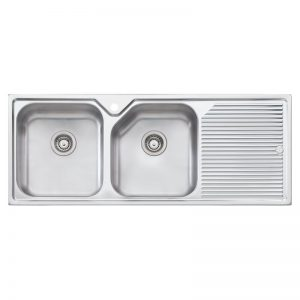 Oliveri NP671 Nu-Petite Double Bowl Right Hand Drainer Topmount Sink 1472077