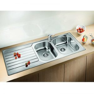 Blanco DINAS8S175RD-BT489 1 and 3/4 Bowl Left Hand Drainer Sink and Tap 1530429