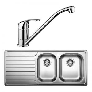 Blanco DINAS8S175RD-BT489 1 and 3/4 Bowl Left Hand Drainer Sink and Tap 1530428