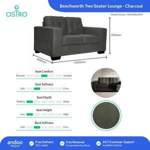 Ostro Y18960BSUN09 Beechworth Charcoal Three Seater Lounge 1652070