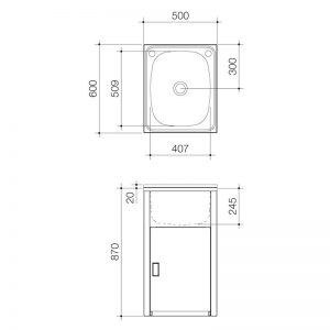 Clark F6111 Utility 42L Compact Laundry Tub and Cabinet 1860362