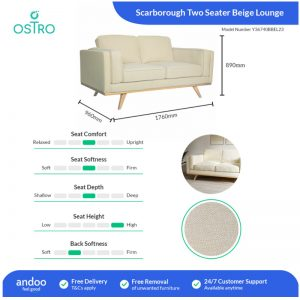 Ostro Y36740BBEL23 Scarborough Two Seater Lounge Beige 1878956