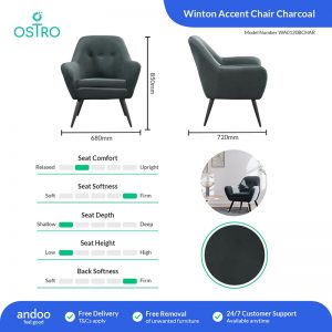 Ostro WA0120BCHAR Winton Accent Chair Charcoal 1878511