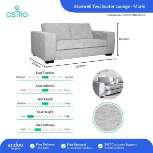 Ostro U1154A40BGXXMLX Stanwell Two Seater Lounge Marle 1878971